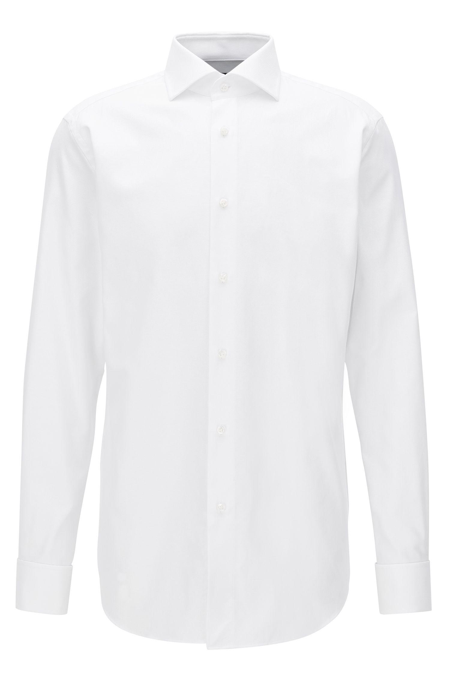 Camicia regular fit in cotone lavorato