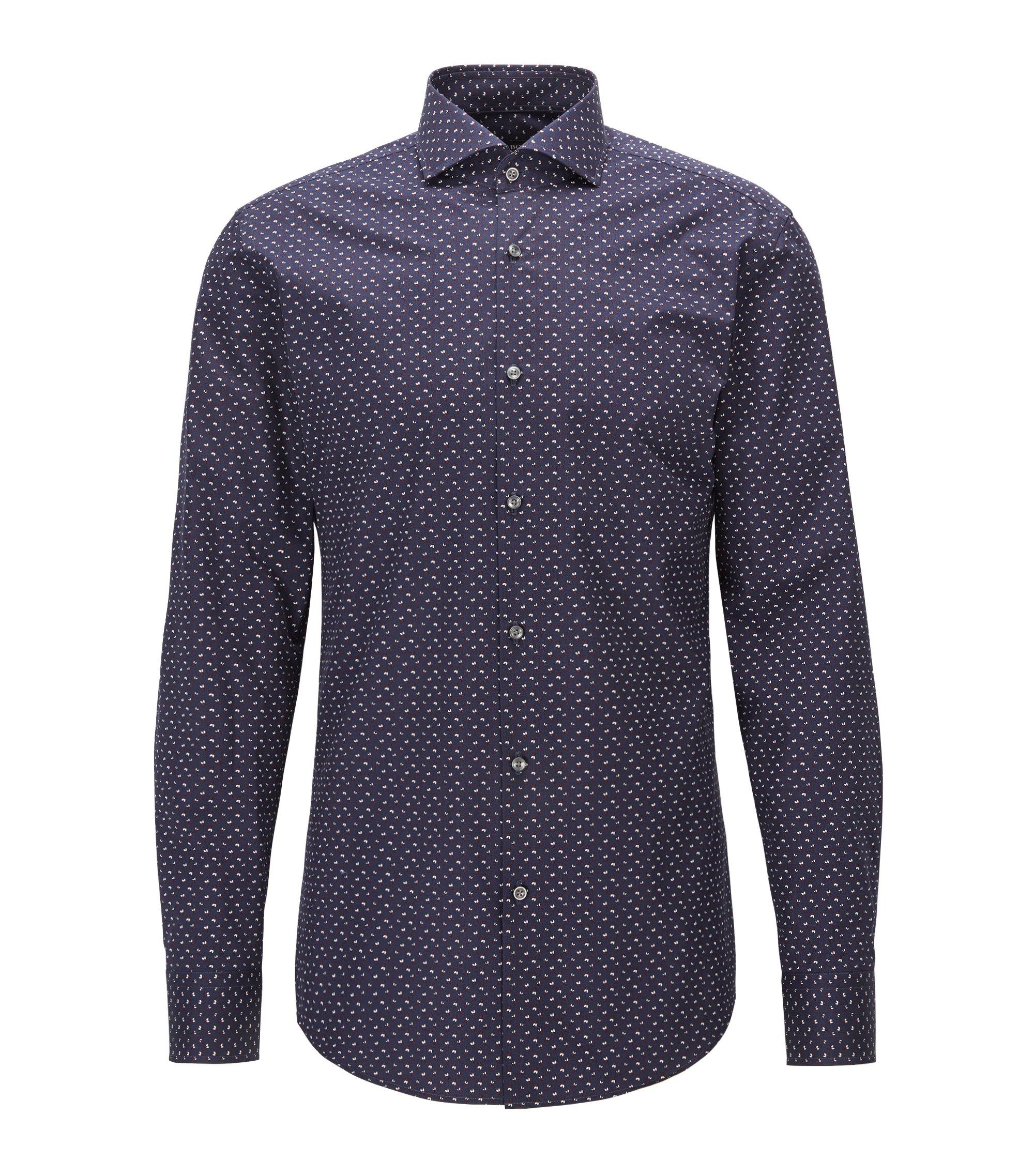 Slim-fit shirt in printed cotton poplin, Dark Blue