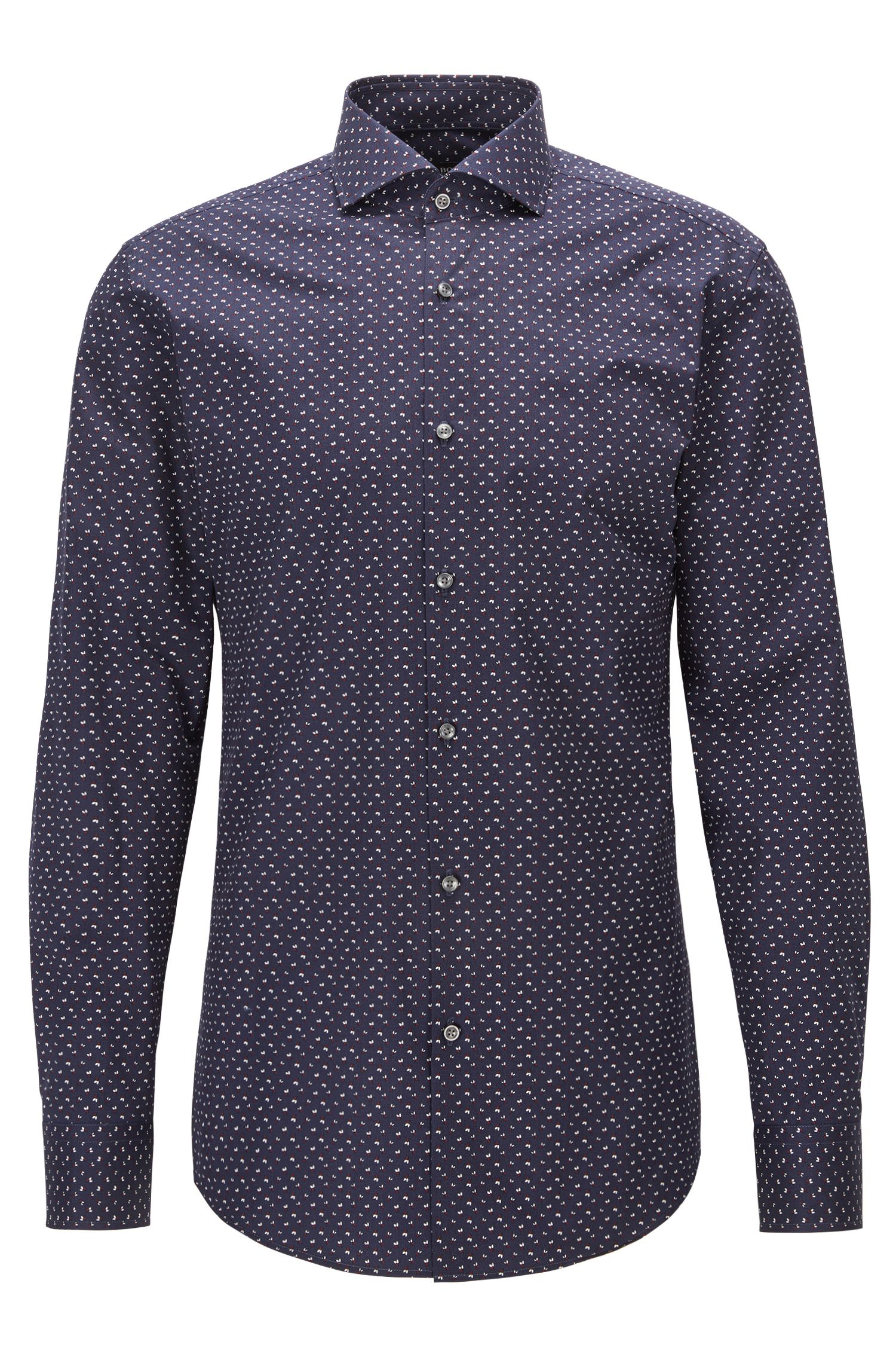 Slim-fit shirt in printed cotton poplin