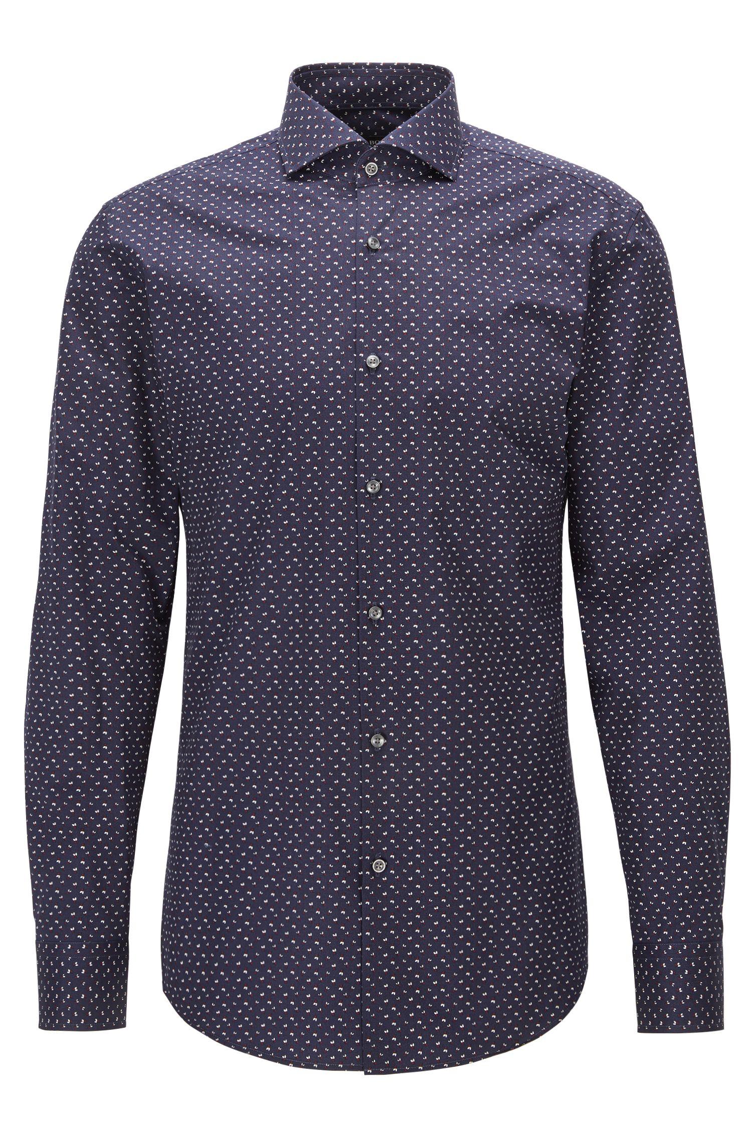 Camisa slim fit en popelín de algodón estampado