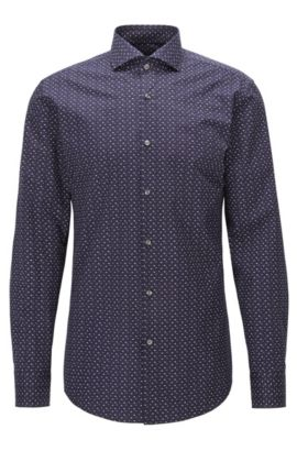 Slim-fit shirt in printed cotton poplin, Dark Blue