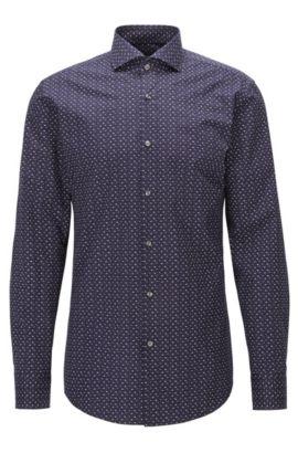 Camisa slim fit en popelín de algodón estampado, Azul oscuro