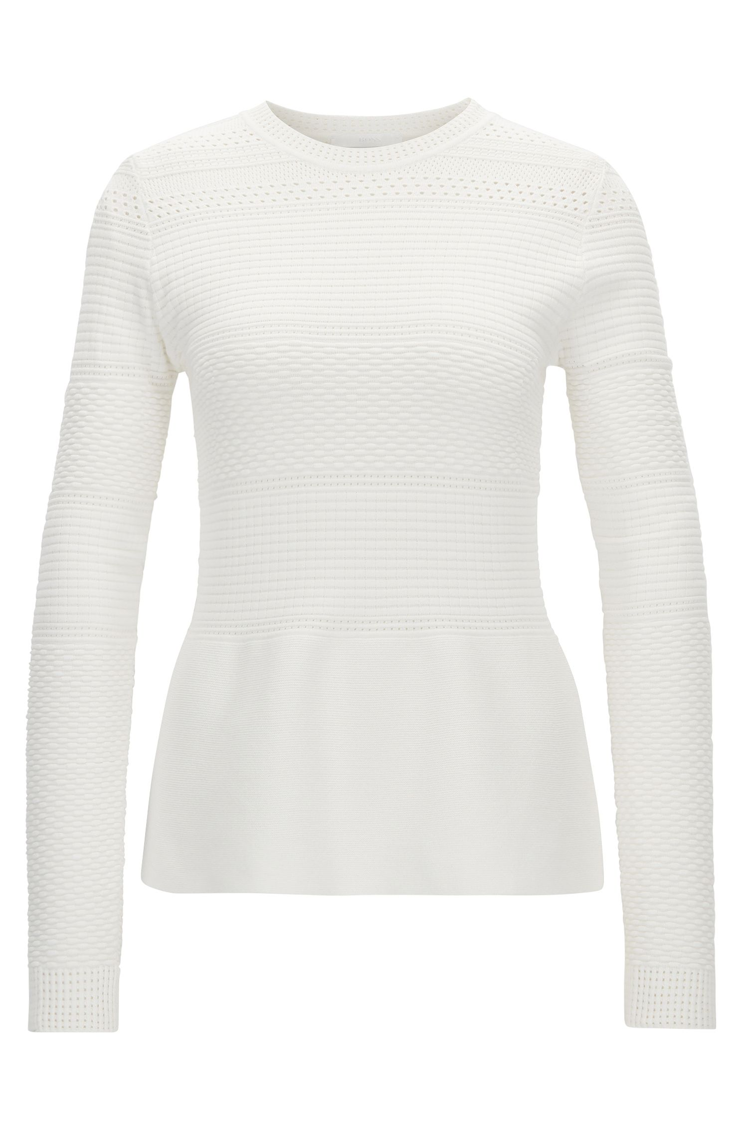 Crew-neck sweater in stretch fabric