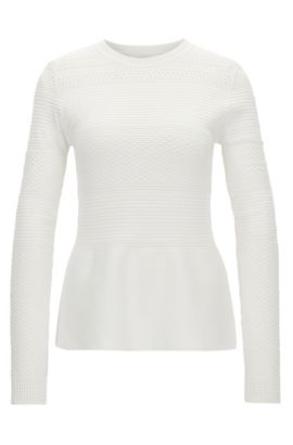 Crew-neck sweater in stretch fabric, Natural