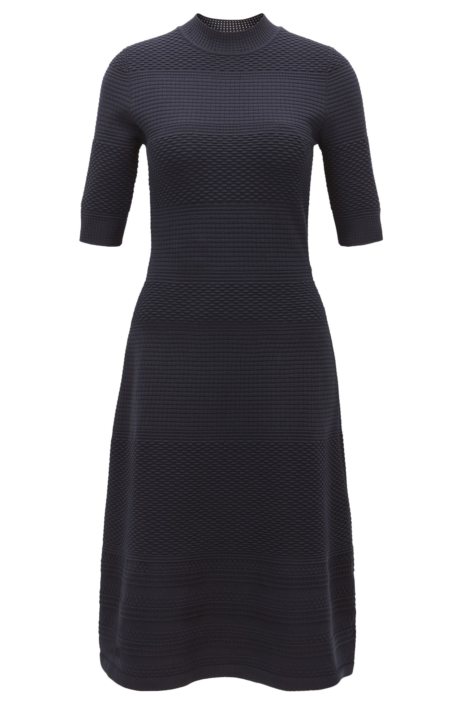 Crew-neck dress in knitted stretch fabric