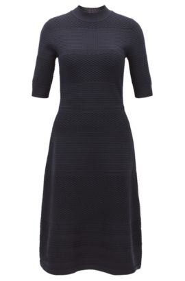 Crew-neck dress in knitted stretch fabric, Dark Blue