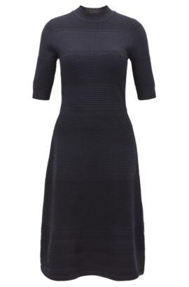 Kleid aus gestricktem Material-Mix mit Rundhalsausschnitt, Dunkelblau