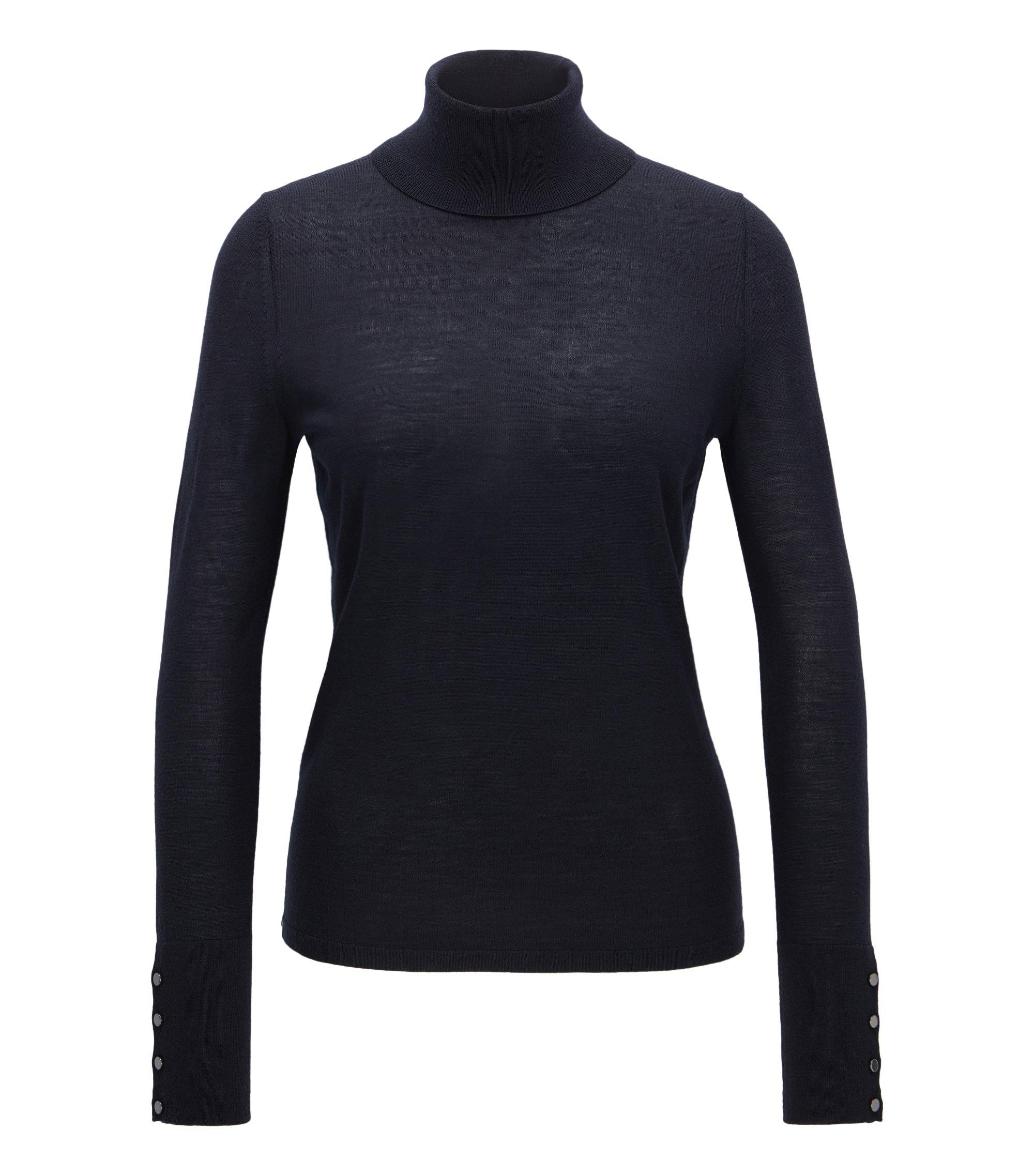 Jersey de cuello alto en lana mercerizada, Azul oscuro