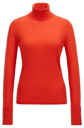 Roll-neck sweater in mercerised wool, Red