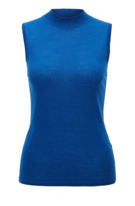 Top sans manches en maille de laine vierge mercerisée, Bleu