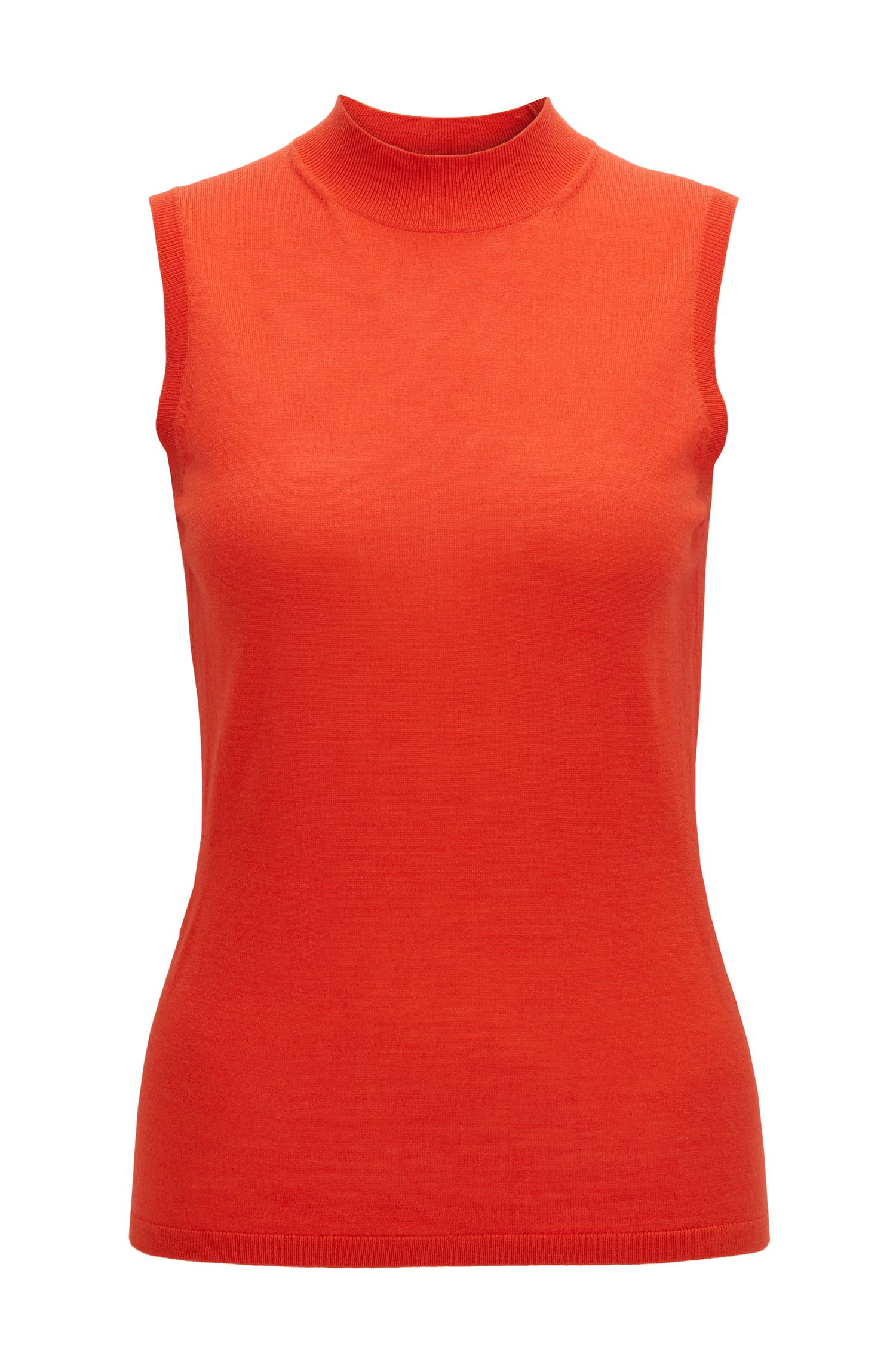 Sleeveless knitted top in mercerised virgin wool