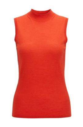 Sleeveless knitted top in mercerised virgin wool, Red