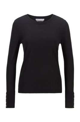 Mercerised merino wool sweater with cuff buttons, Black