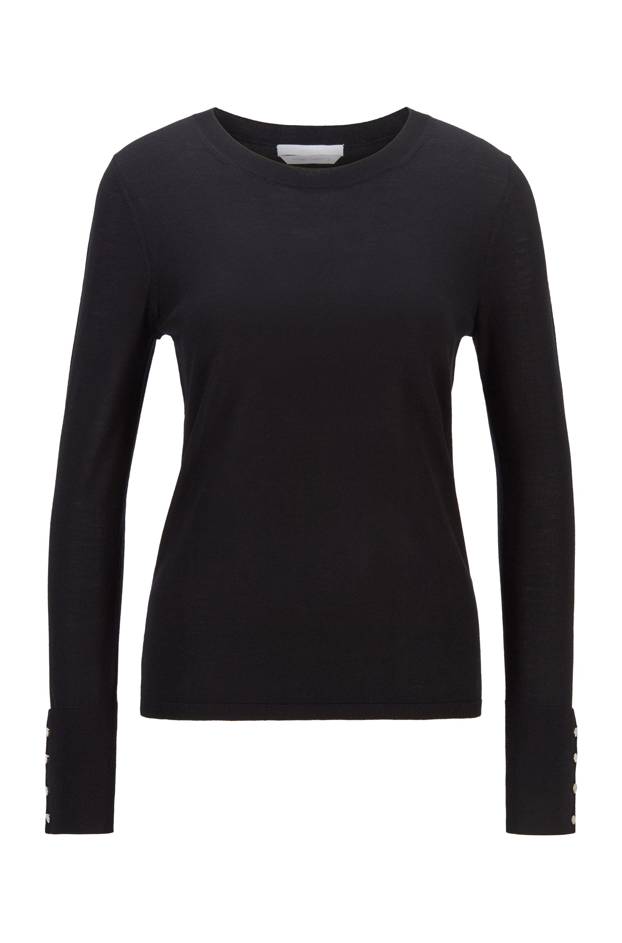 Mercerised merino wool sweater with cuff buttons, Black