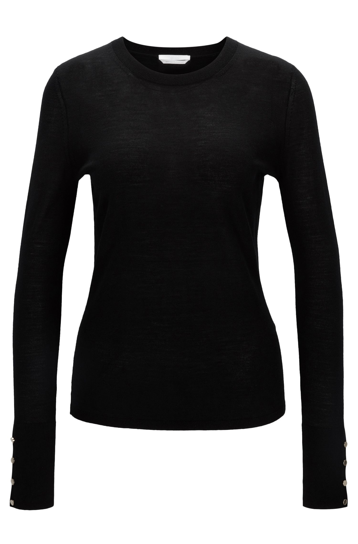 Crew-neck sweater in mercerised virgin wool, Black