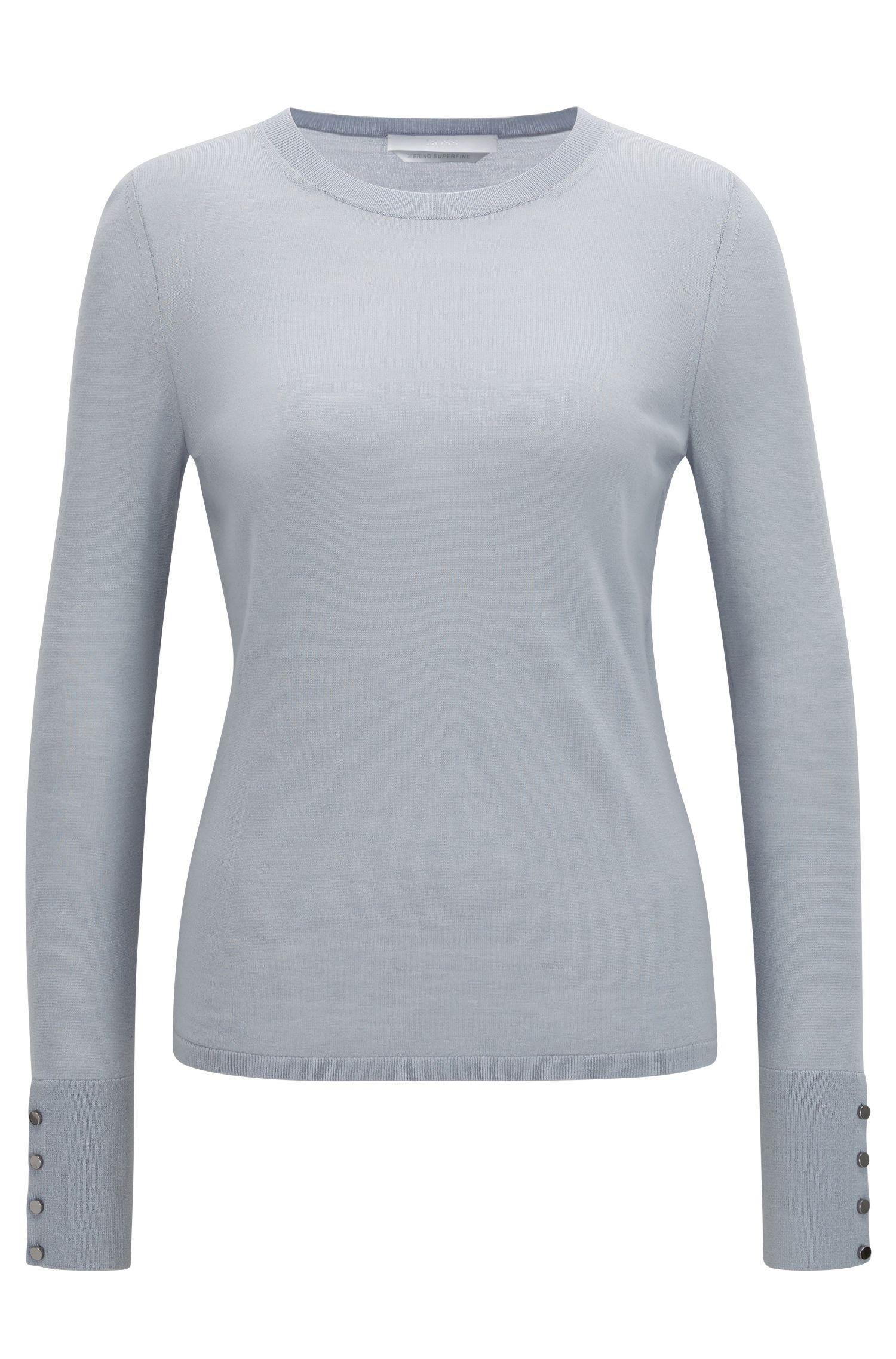 Pullover aus merzerisierter Schurwolle mit Rundhalsausschnitt