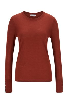 Mercerised merino wool sweater with cuff buttons, Brown