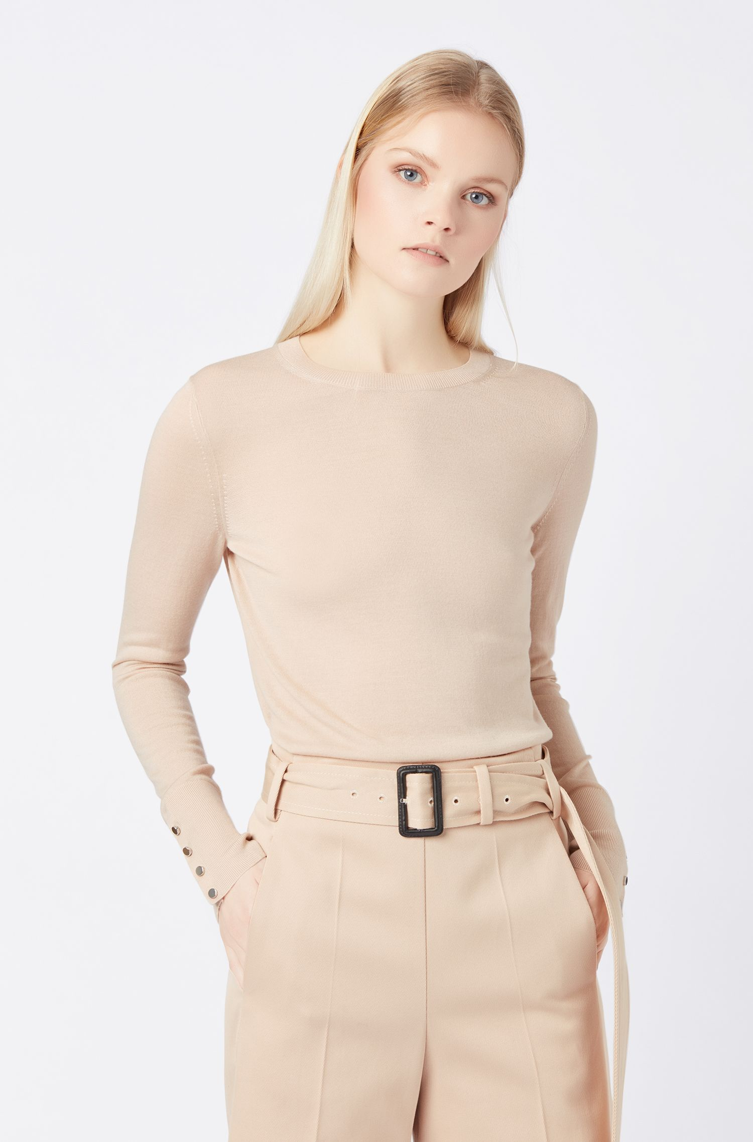 Crew-neck sweater in mercerised virgin wool, Beige
