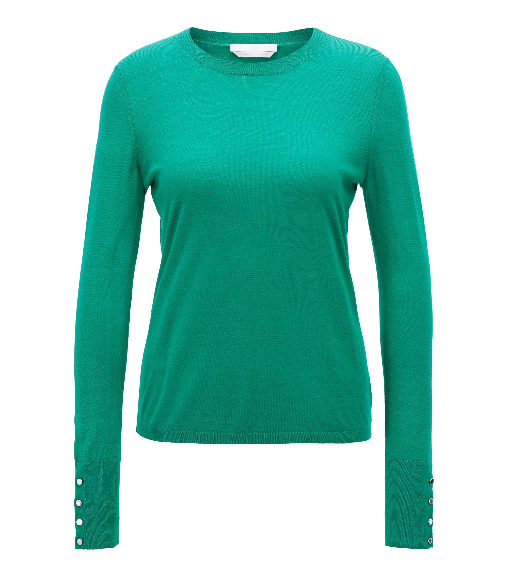 Crew-neck sweater in mercerised virgin wool, Open Green