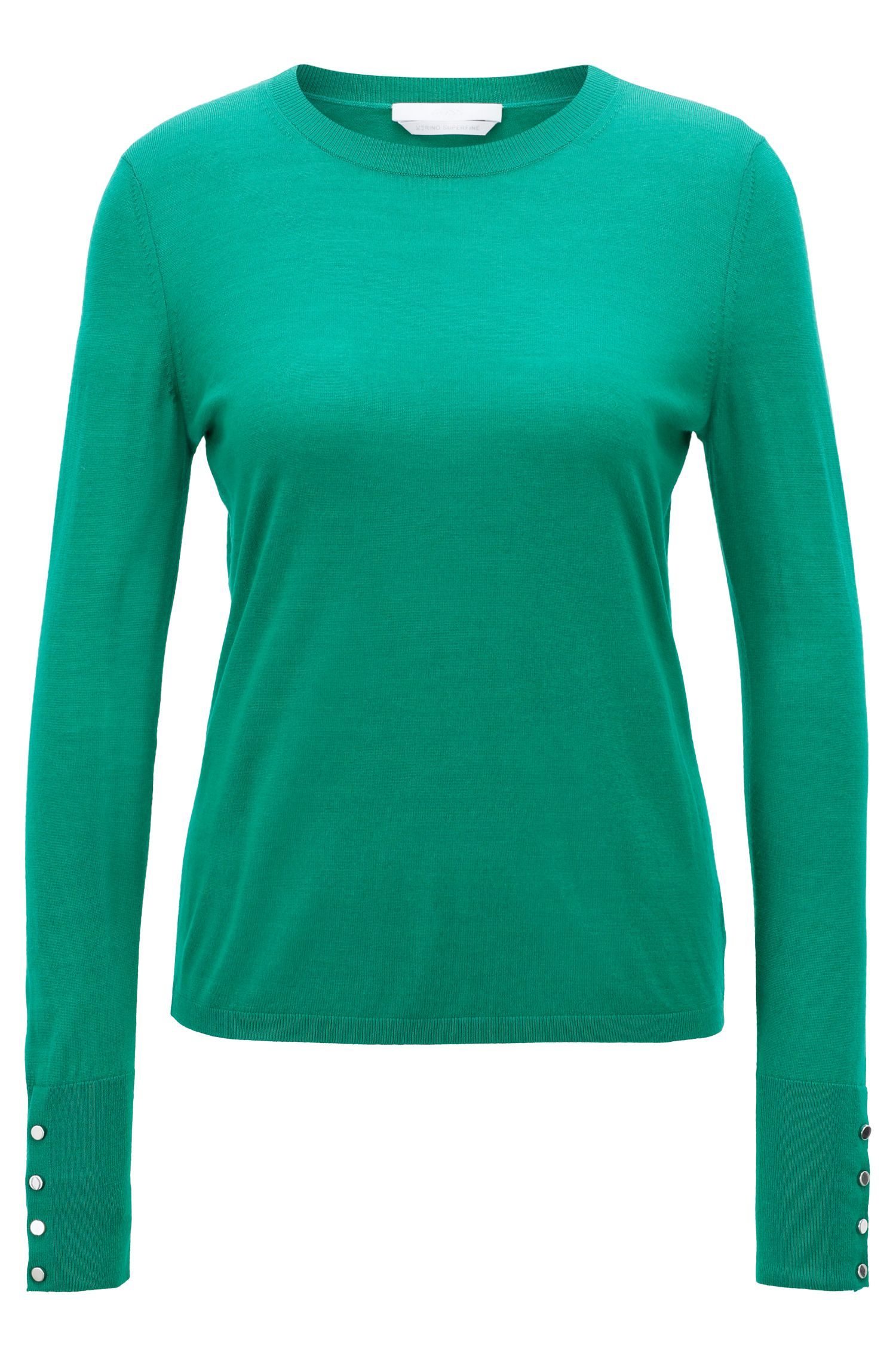 Pullover aus merzerisierter Schurwolle mit Rundhalsausschnitt, Hellgrün