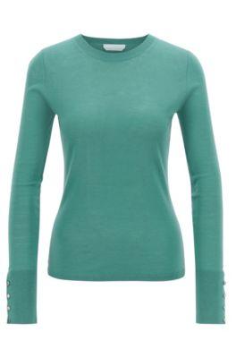 Pullover aus merzerisierter Schurwolle mit Rundhalsausschnitt, Grün