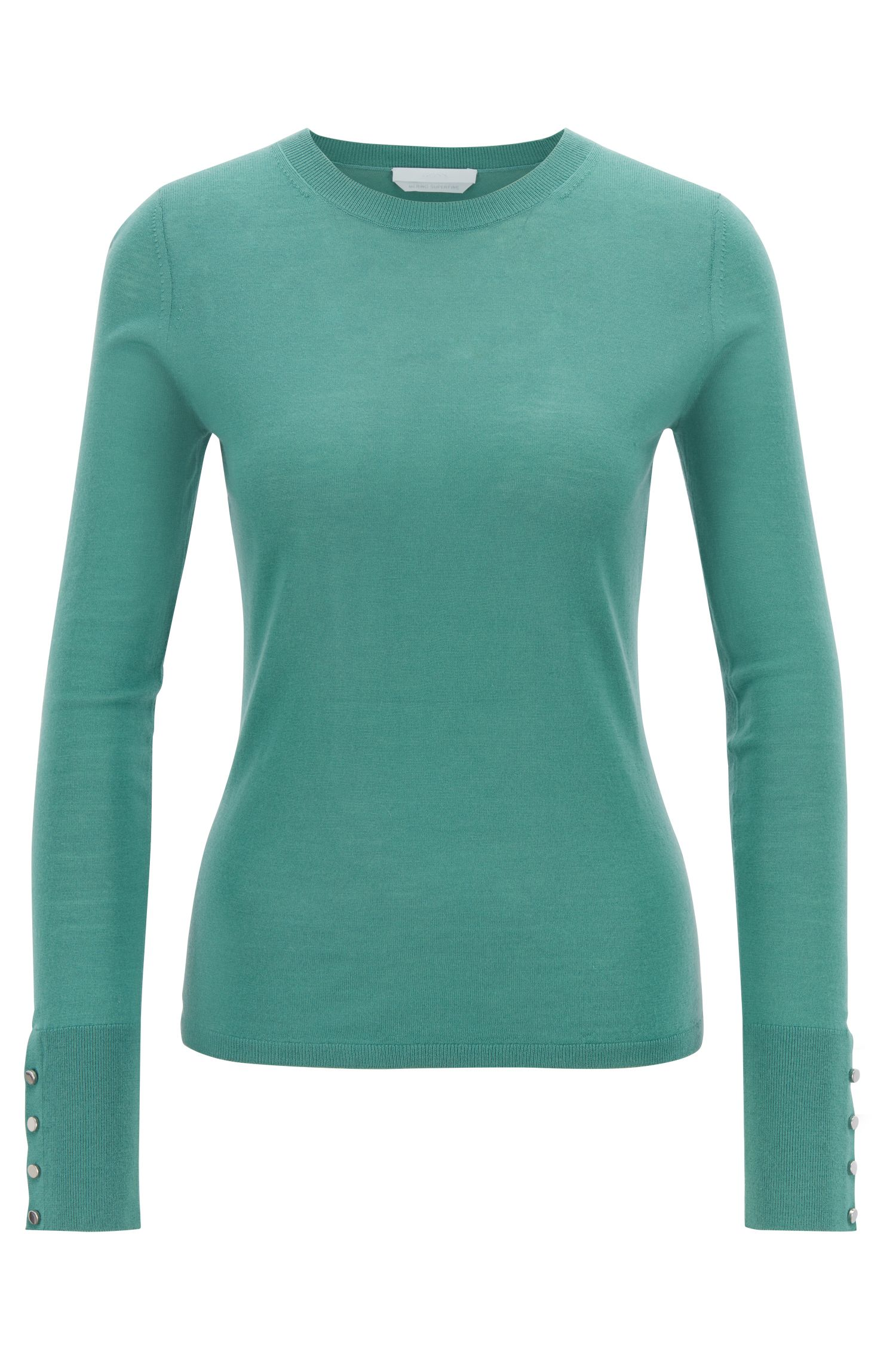 Crew-neck sweater in mercerised virgin wool, Green