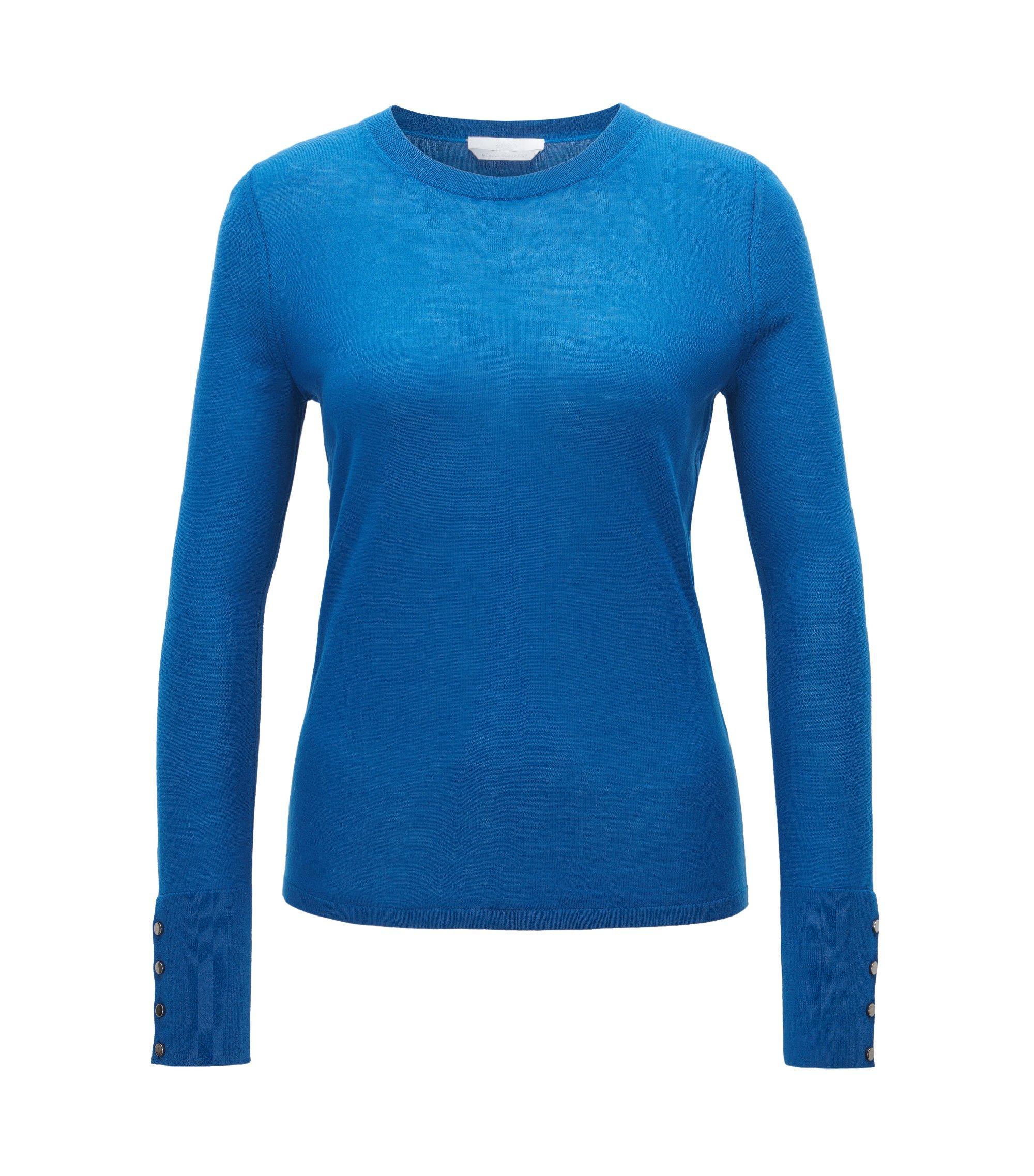 Pullover aus merzerisierter Schurwolle mit Rundhalsausschnitt, Blau