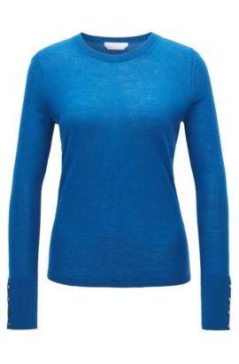 Crew-neck sweater in mercerised virgin wool, Blue