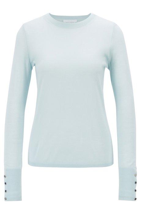 Pullover aus merzerisierter Schurwolle mit Rundhalsausschnitt, Hellblau