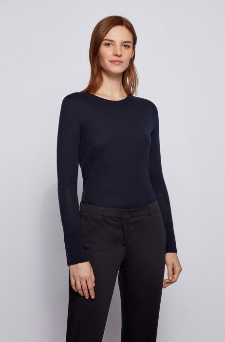 Mercerised merino wool sweater with cuff buttons, Dark Blue