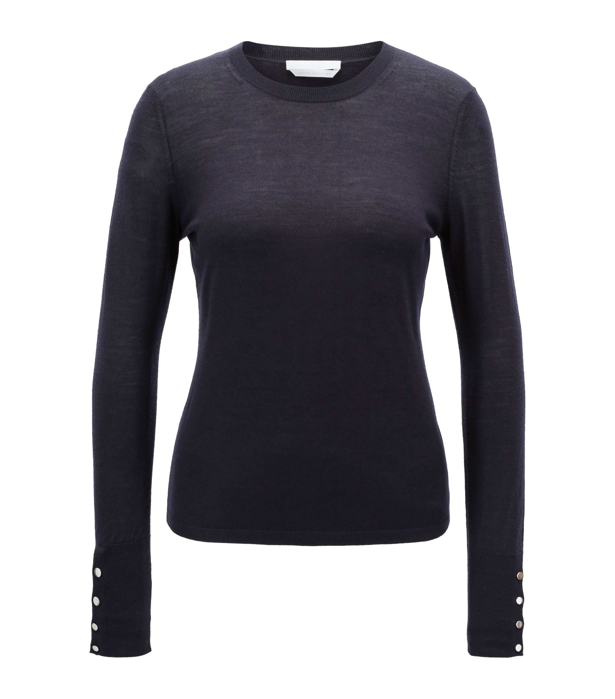 Crew-neck sweater in mercerised virgin wool, Dark Blue