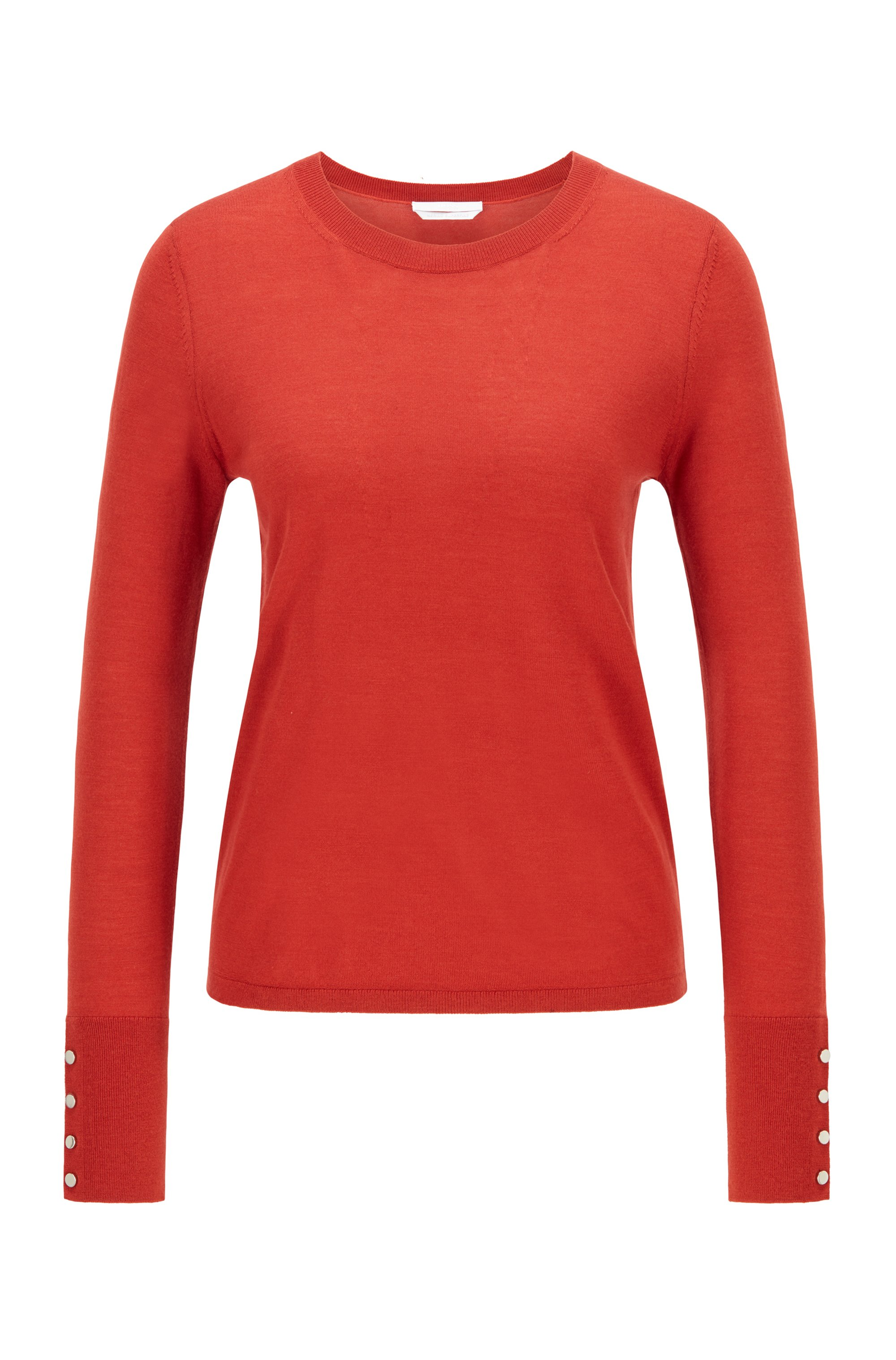 Mercerised merino wool sweater with cuff buttons, Red