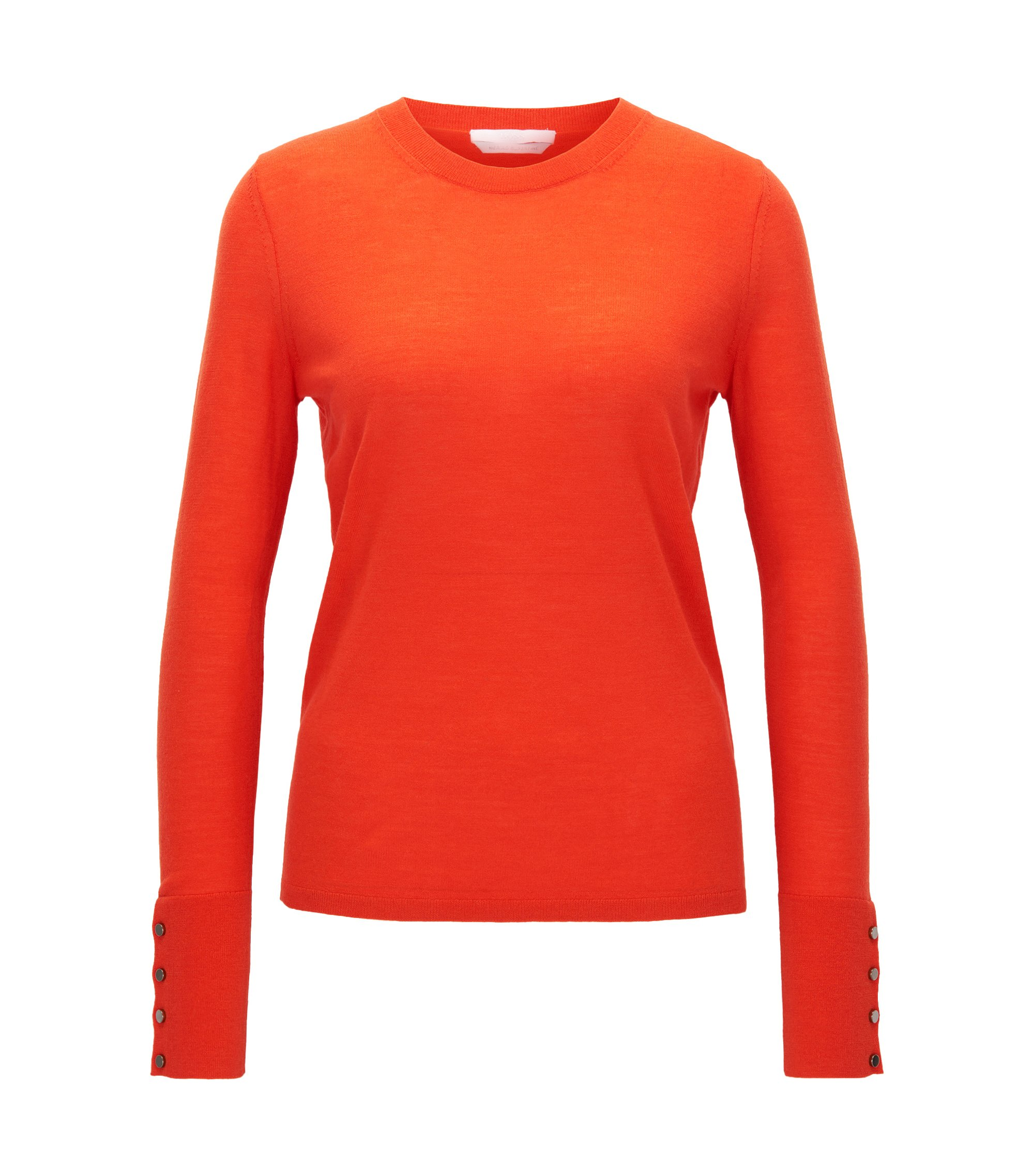 Jersey de escote redondo en lana virgen mercerizada, Rojo