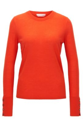 Pullover aus merzerisierter Schurwolle mit Rundhalsausschnitt, Rot