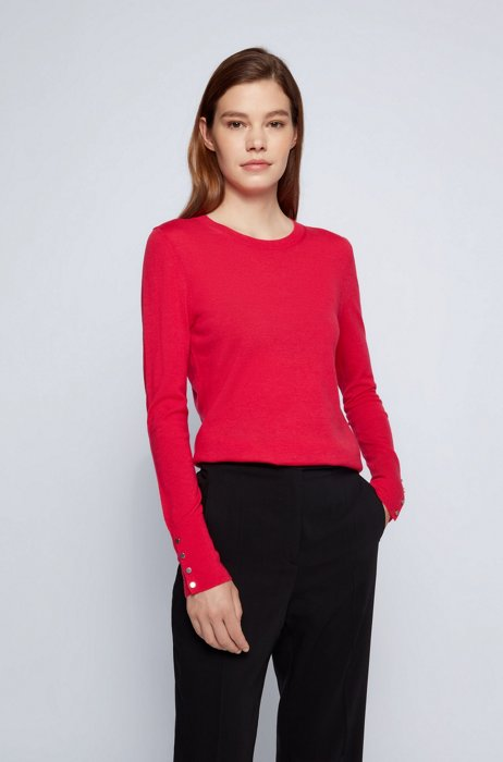 Mercerised merino wool sweater with cuff buttons, Pink