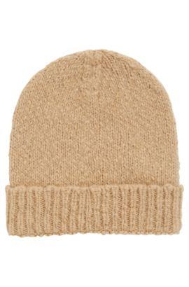 Bonnet en laine alpaga mélangée, Brun chiné