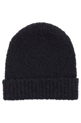 Mütze aus Alpaka-Mix mit Schurwolle, Dunkelblau