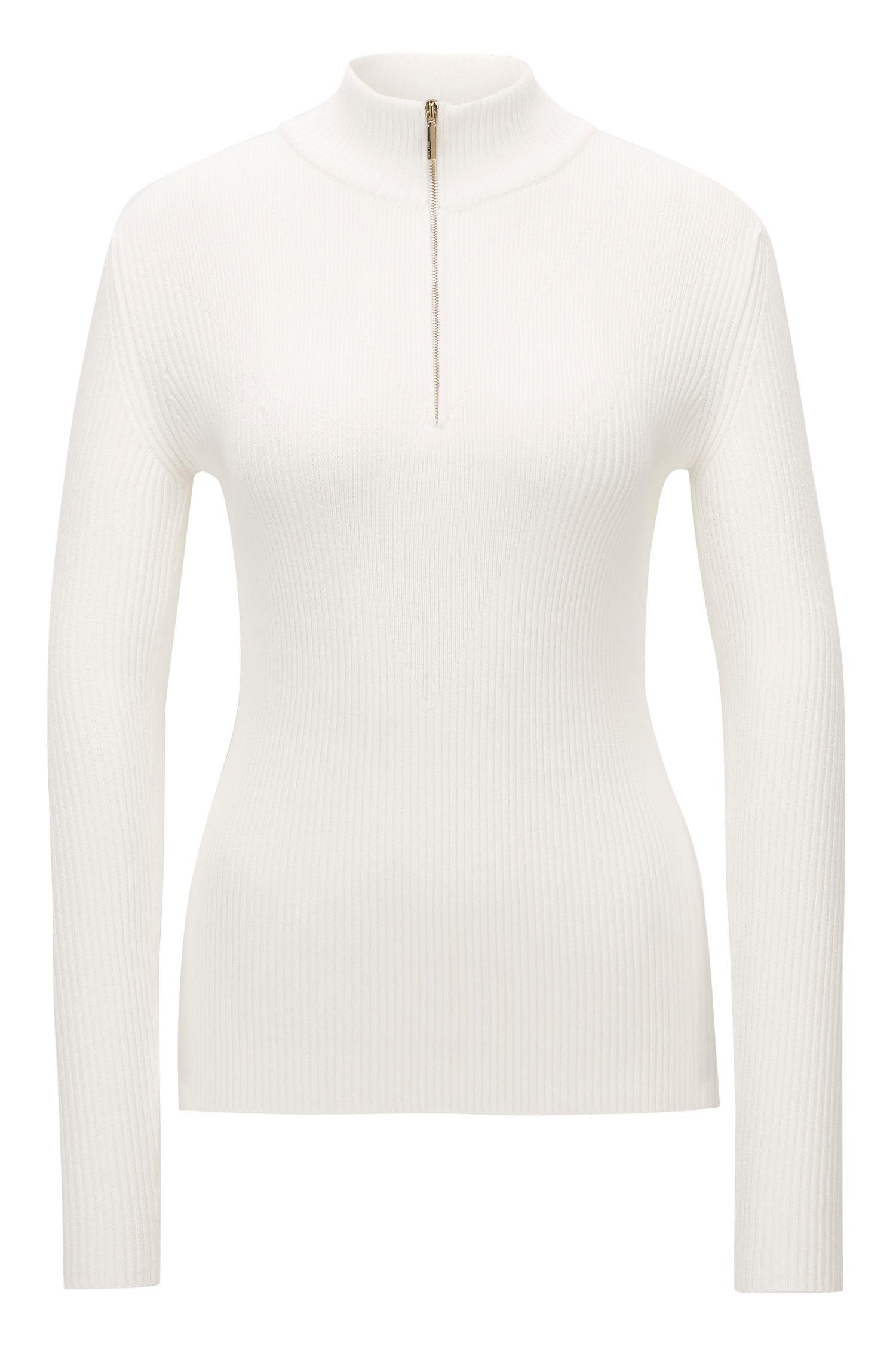 Pullover aus Material-Mix mit Stehkragen und Reißverschluss