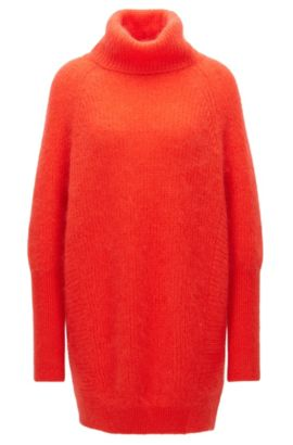 Oversized roll-neck sweater in a mohair blend, Red