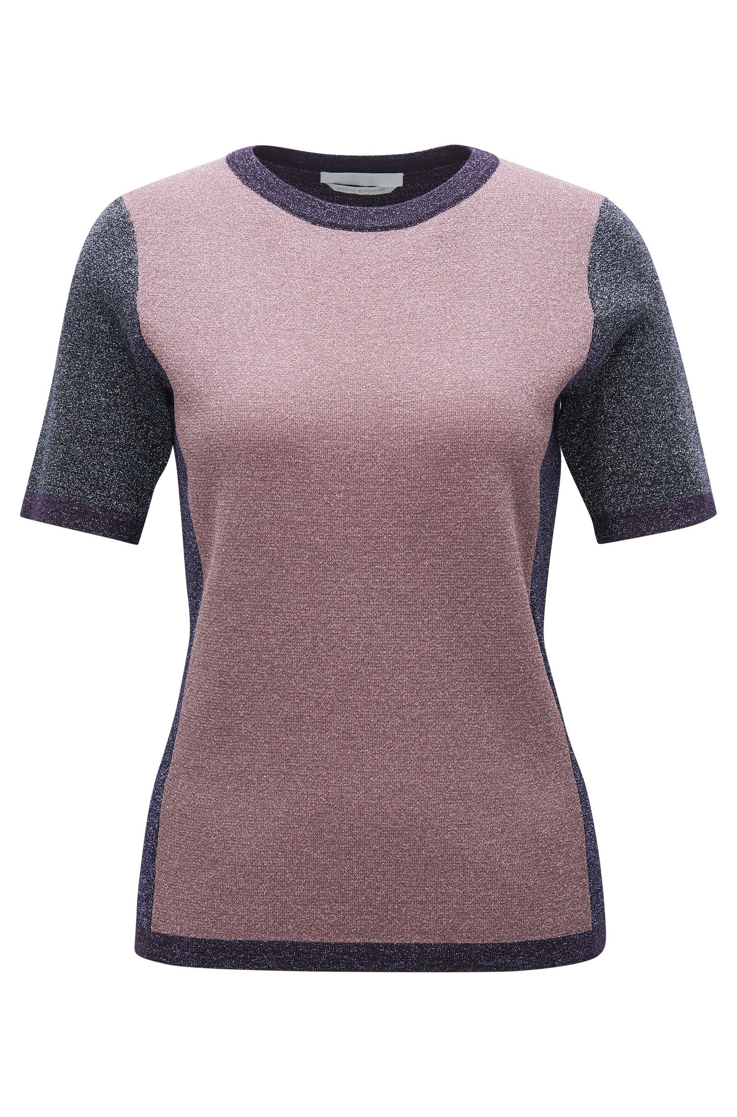 Colourblock top in a metallised wool blend