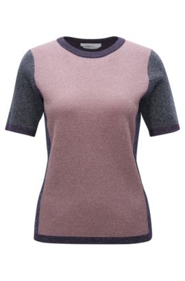 Colour Block Top aus Schurwoll-Mix mit Lurex, Gemustert