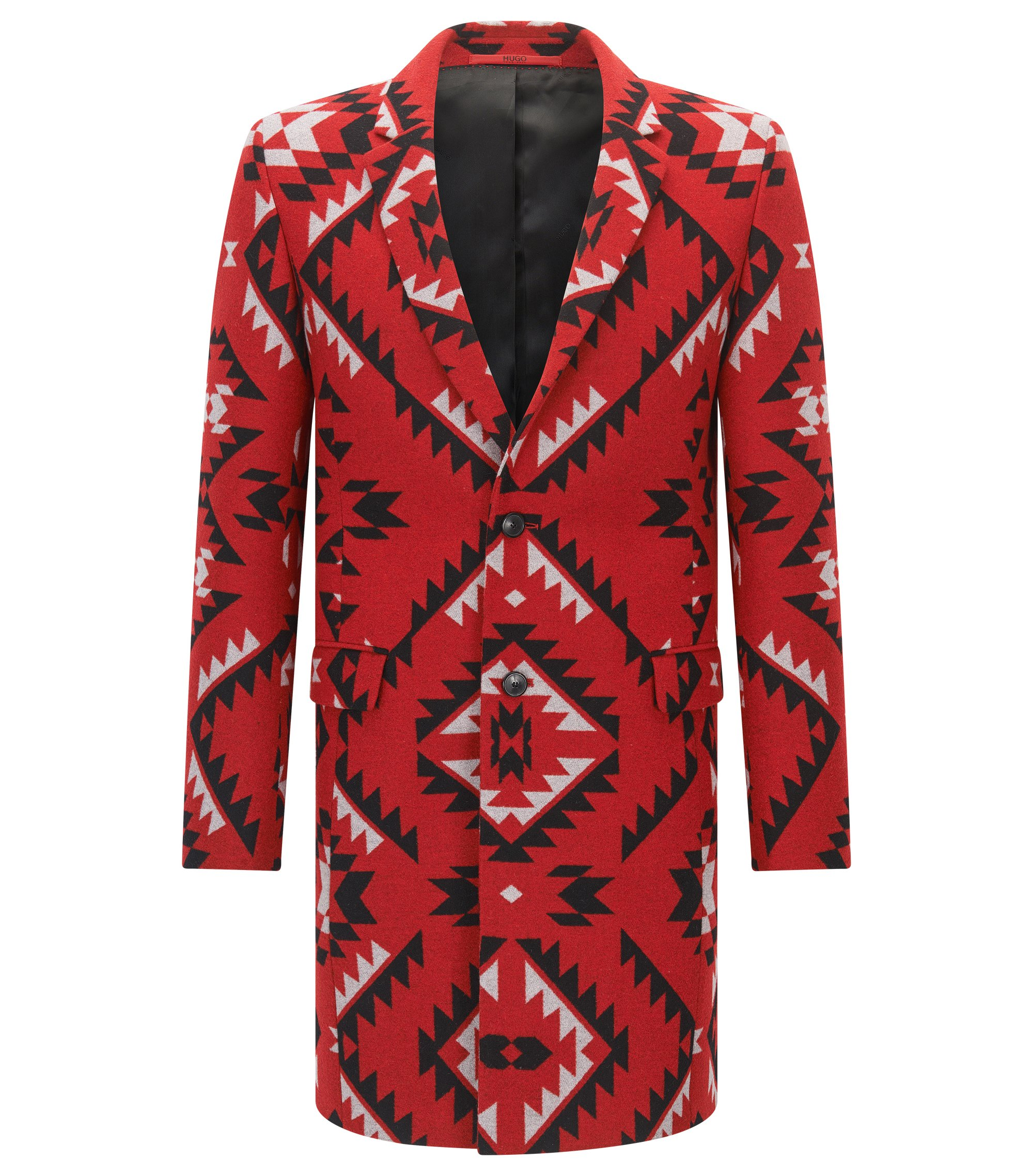 Veste Extra Slim Fit à motif, en laine mélangée, Rouge
