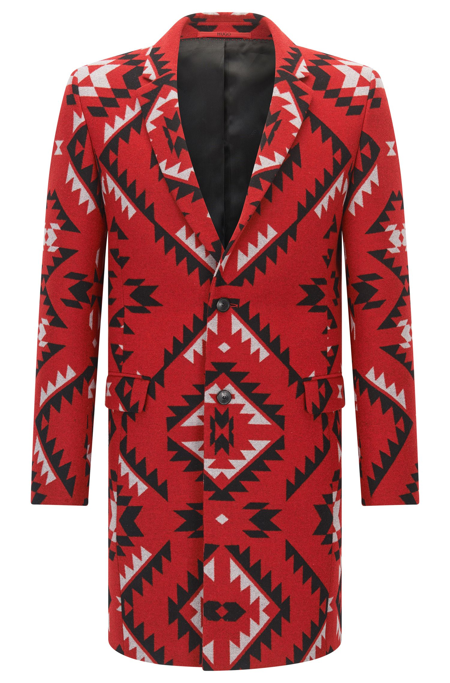 Patterned extra-slim-fit jacket in a wool blend