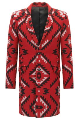 Patterned extra-slim-fit jacket in a wool blend, Red