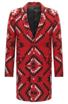 Extra slim-fit jas van een wolmix met dessin, Rood