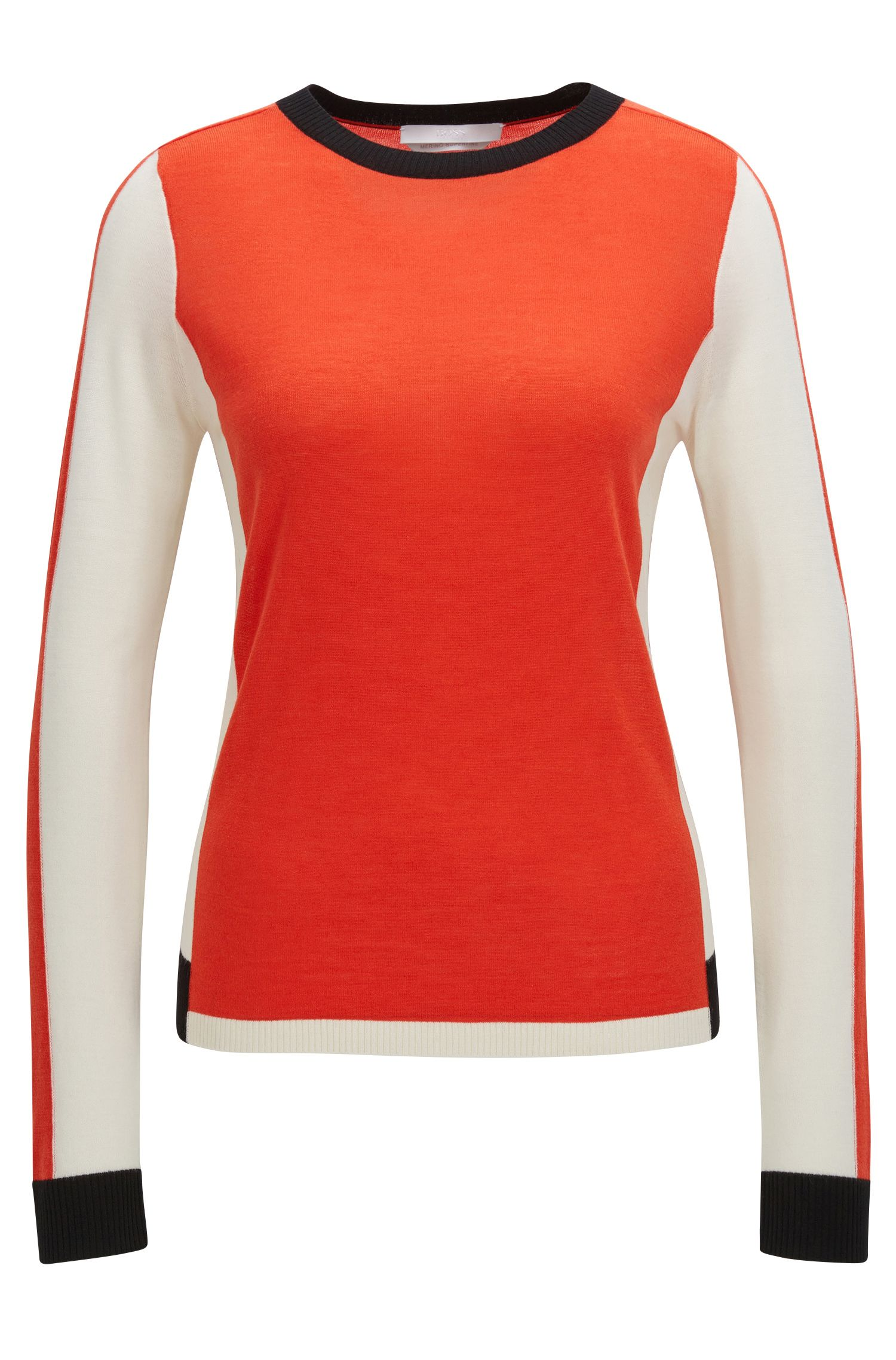 Pull color block en laine vierge