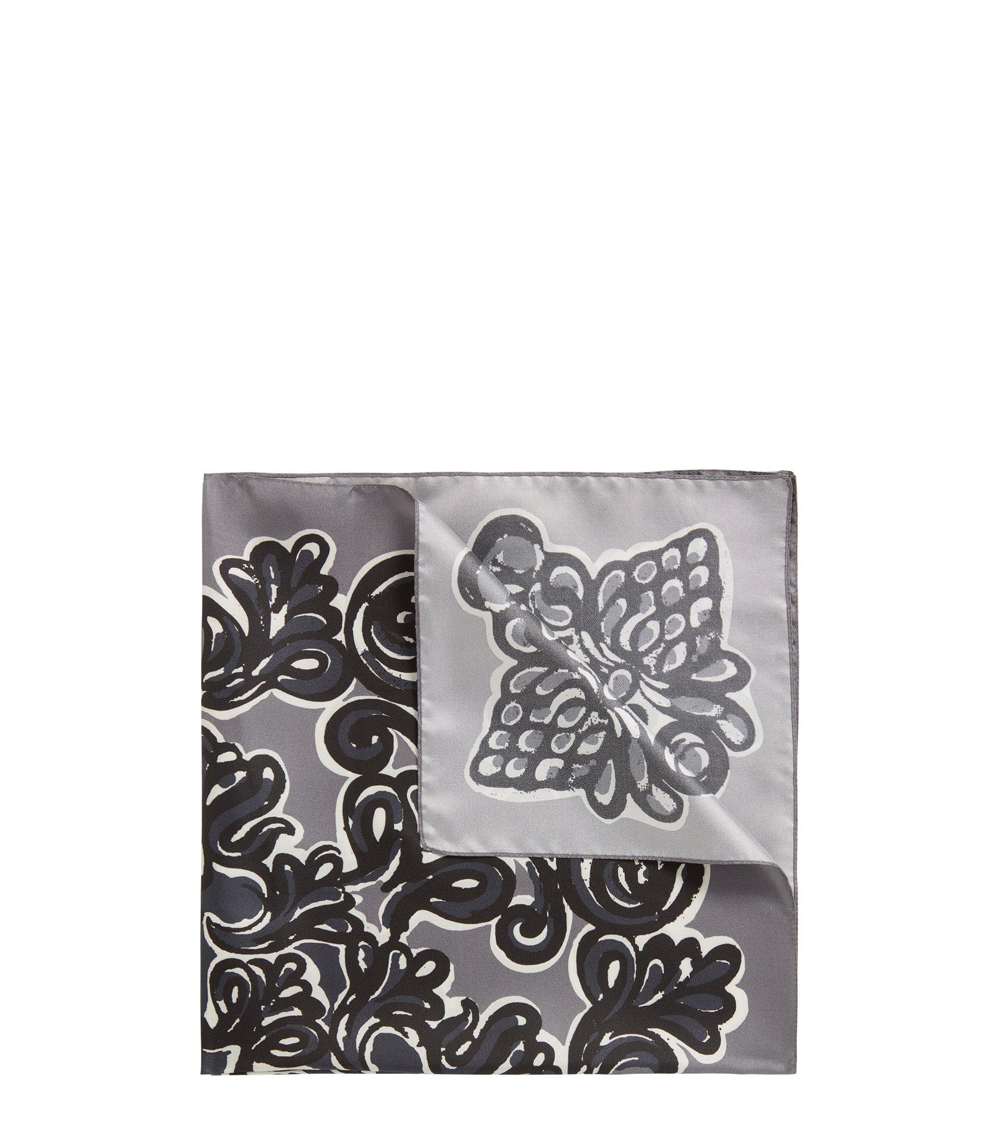 Bedrucktes Bandana aus Seide, Grau