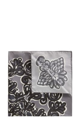 Bandana in printed silk, Grey