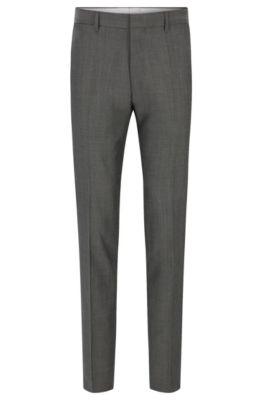 Pantalón slim fit de lana virgen con ribete en contraste, Gris