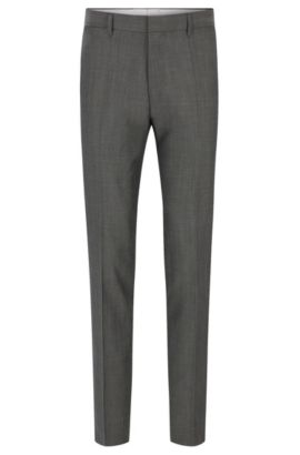 Slim-fit virgin wool trousers with contrast trim, Grey
